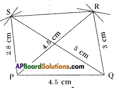AP Board 8th Class Maths Solutions Chapter 3 Construction of Quadrilaterals Ex 3.3 4