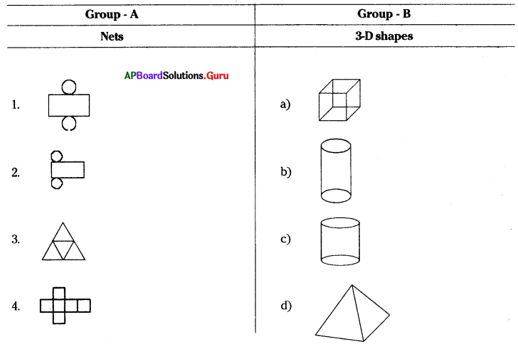 AP 7th Class Maths Bits Chapter 14 Understanding 3D and 2D Shapes with Answers 16